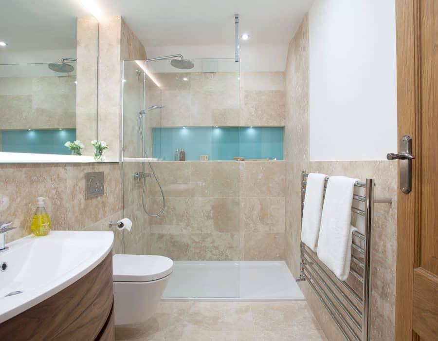 Image: Travertine Master Ensuite with Walk-in Shower