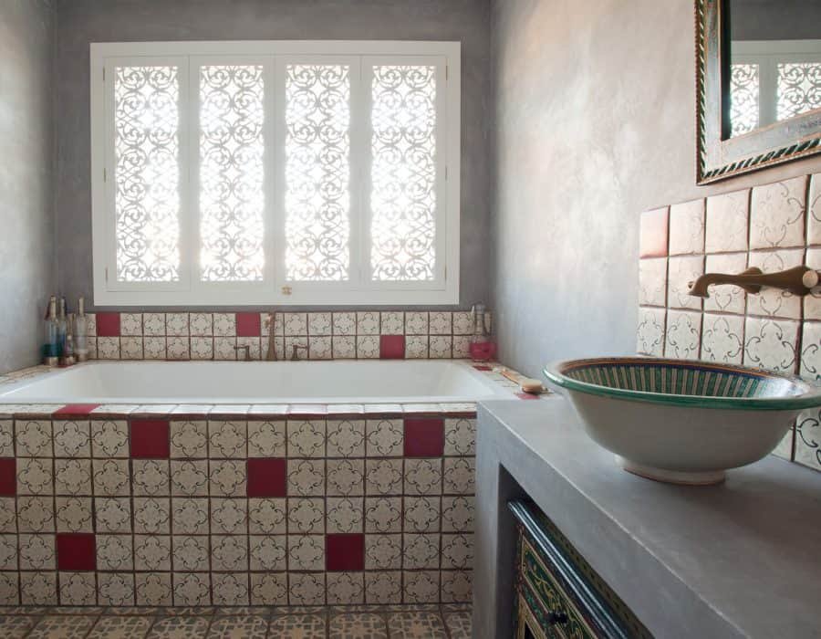 Image: Moroccan-inspired with Feature Basin and Cabinetry