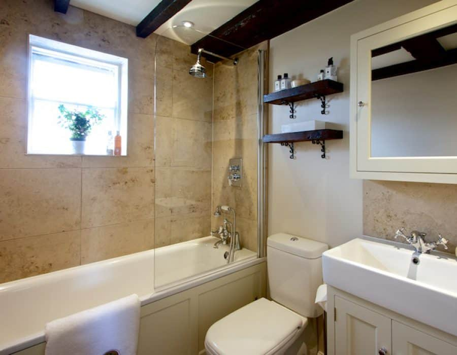 Image: Small Family Bathroom with Timber and Stone