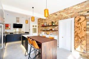 modern, industrial kitchen with island
