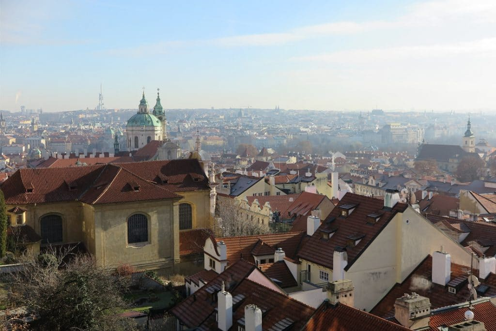 View from the castle in Prague in winter