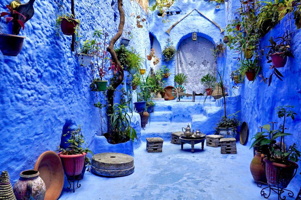everything is painted in blue in Chefchaouen one of the stops on the typical morocco backpacking route