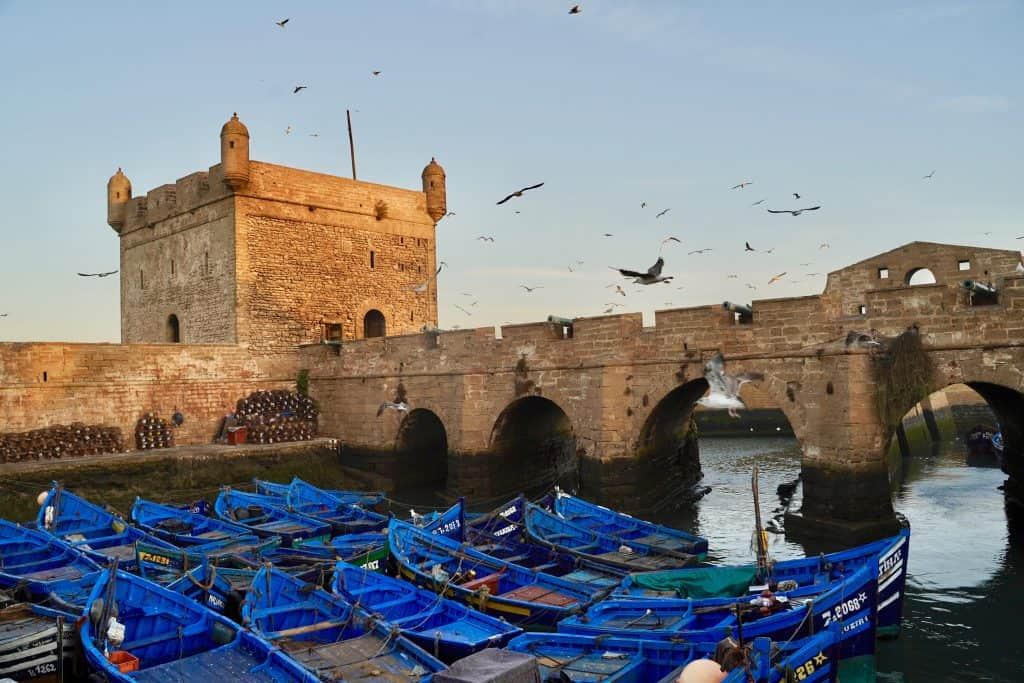 essaouira fort with blue fishing boats in foreground - a must see during your 10 days in Morocco