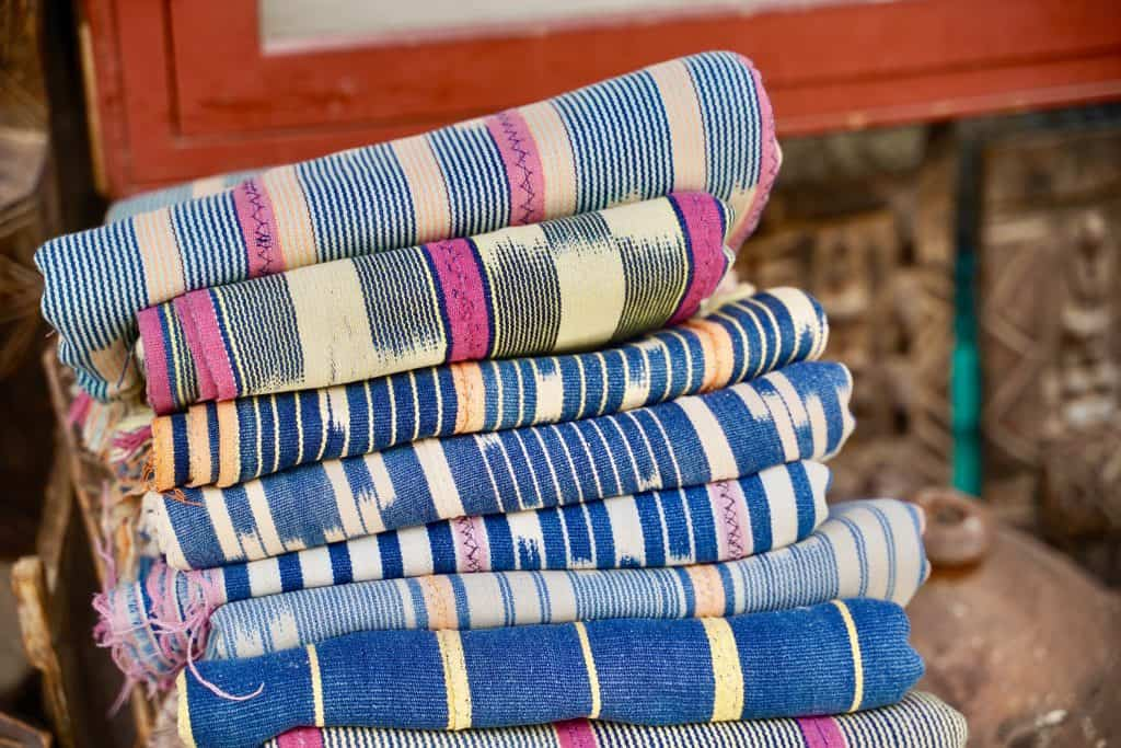 picture of colourful blankets sold in morocco, a popular souvenir