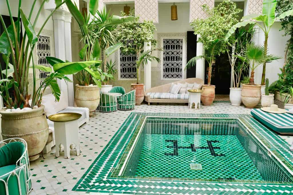 beautiful riad yasmine in marrakech. visiting a riad is a popular hing to do whilst backpacking in morocco