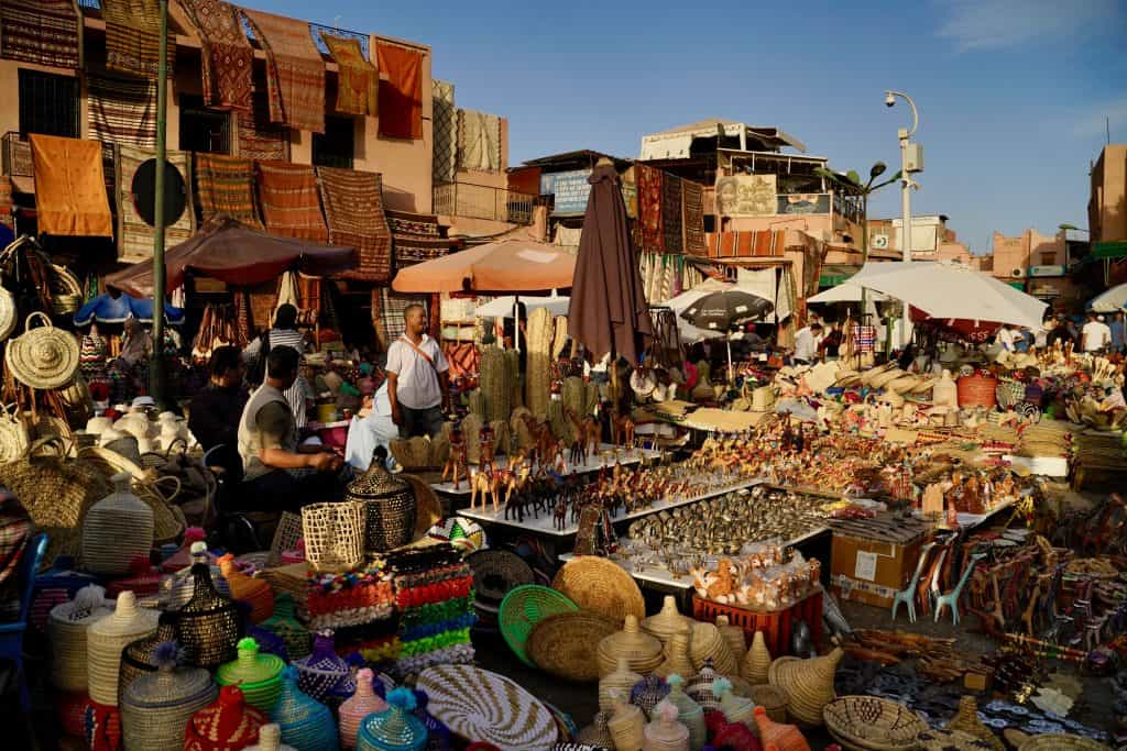 chaotic market square in marrakech in morocco