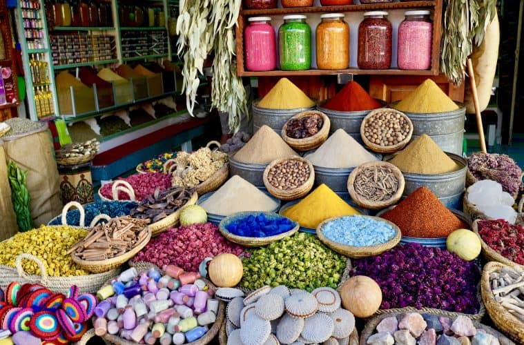 when backpacking in morocco ypu will see lots of colourful displays of moroccan spices like this one
