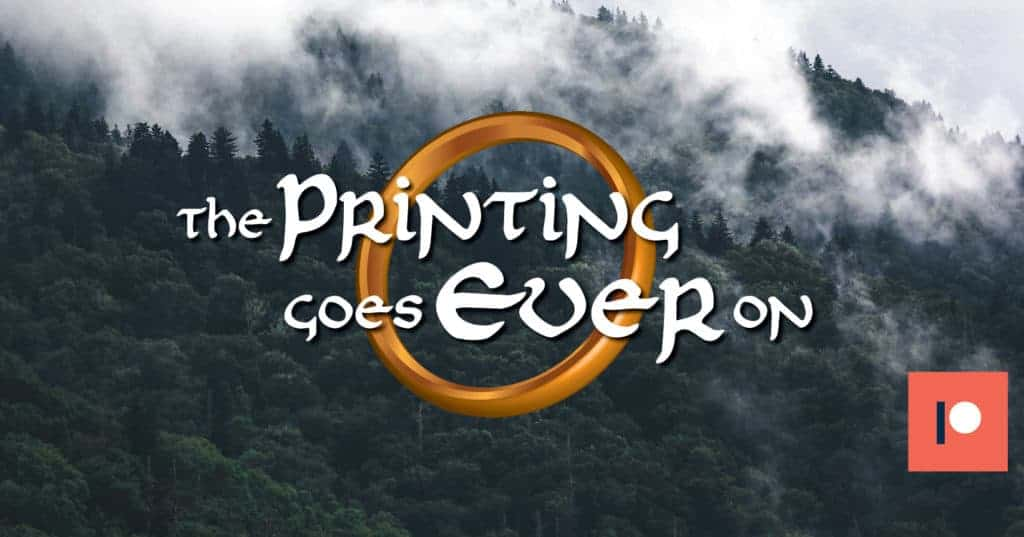 The Printing Goes Ever On caption with the ring behind it on the misty mountain background.