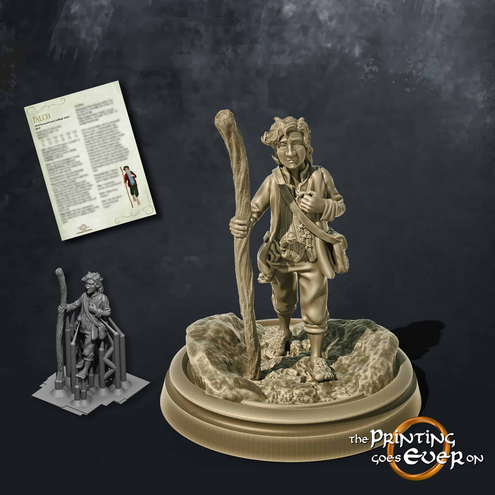 falco halfling adventurer with a walking stick 3d printable tabletop miniature from the printing goes ever on patreon welcome trove