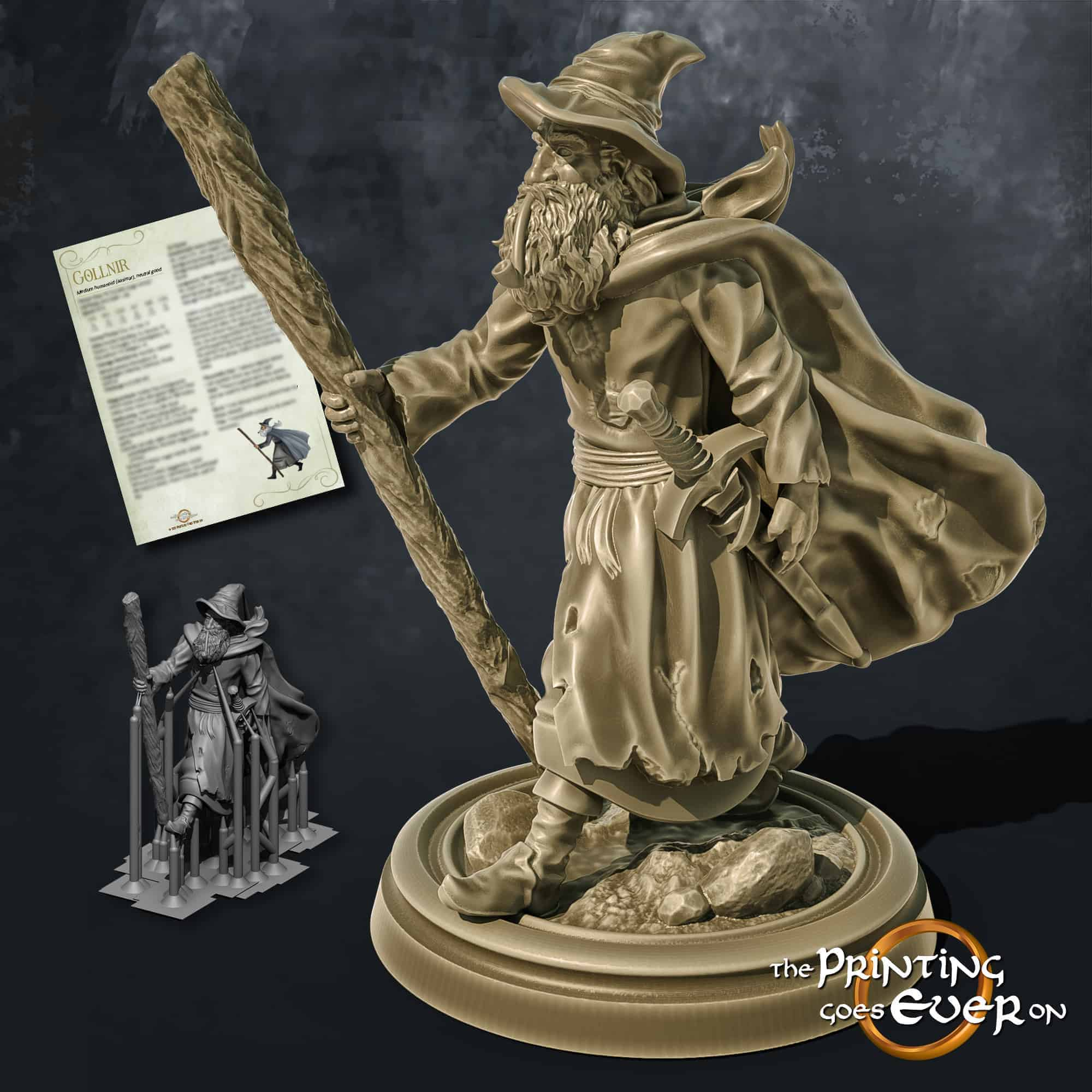 gollnir the old wizard mage with staff and sword beard 3d printable tabletop miniature from the printing goes ever on patreon welcome trove