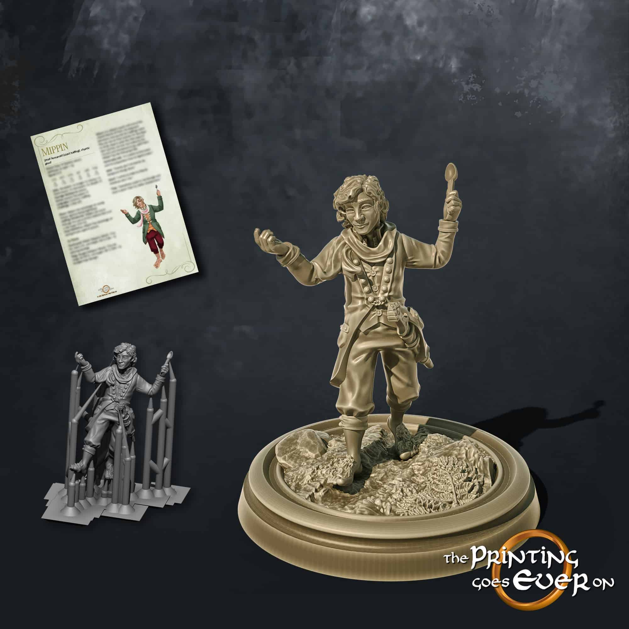 mippin halfling adventurer brandishing a spoon 3d printable tabletop miniature from the printing goes ever on patreon welcome trove