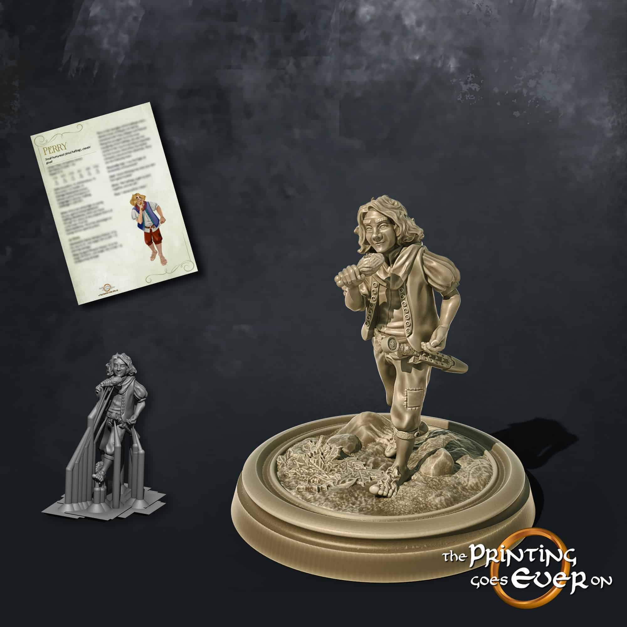 perry halfling adventurer eating 3d printable tabletop miniature from the printing goes ever on patreon welcome trove