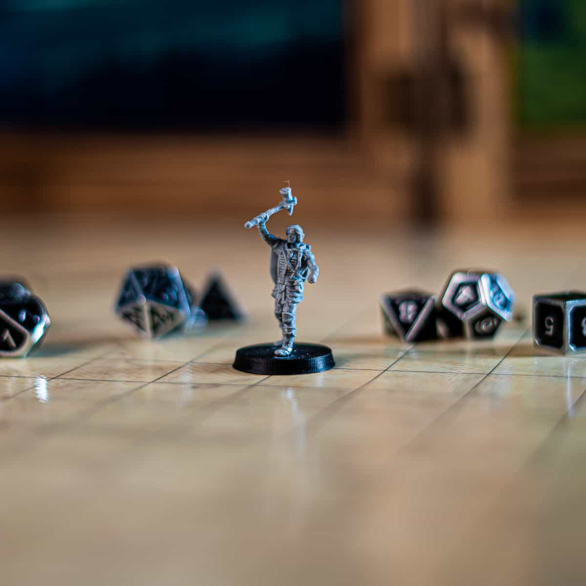 leonard human fighter with warhammer and shield 3d printable tabletop miniature photograph
