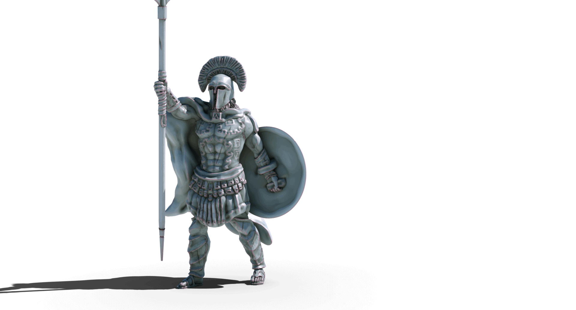 lenidas king of sparta with spear and shield 3d printable tabletop miniature