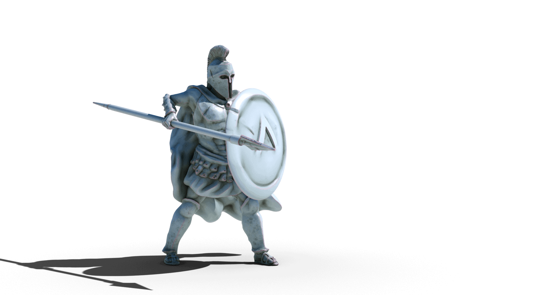 spartan soldier with spear and shield 3d printable tabletop miniature