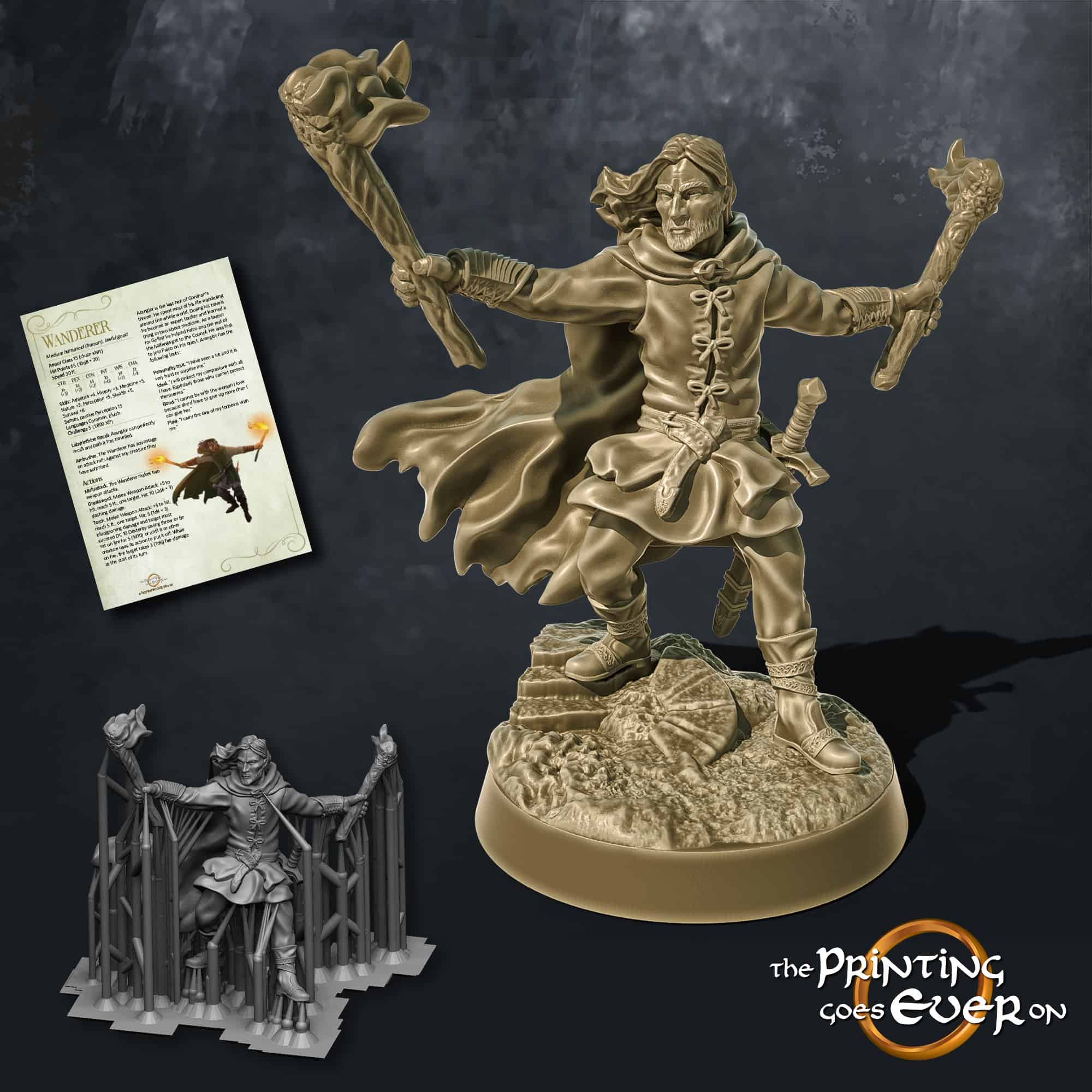 wanderer ranger with torches in hands the printing goes ever on october 2020 patreon pack miniature
