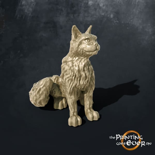 sitting cat 3d printable tabletop miniatures