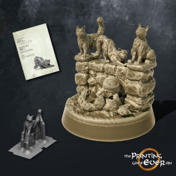 five cats sitting on wall the printing goes ever on september 2020 patreon pack miniature
