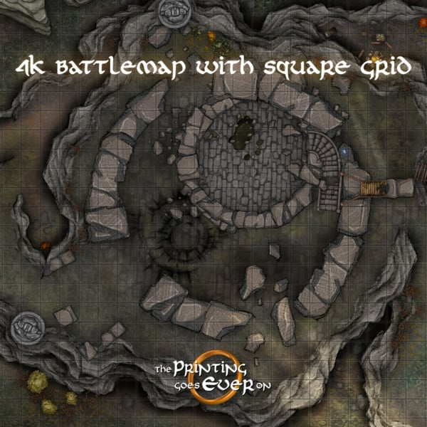 chapter 3 waylay at fehntop tactical dnd battlemap with a hill and ruined watchtower