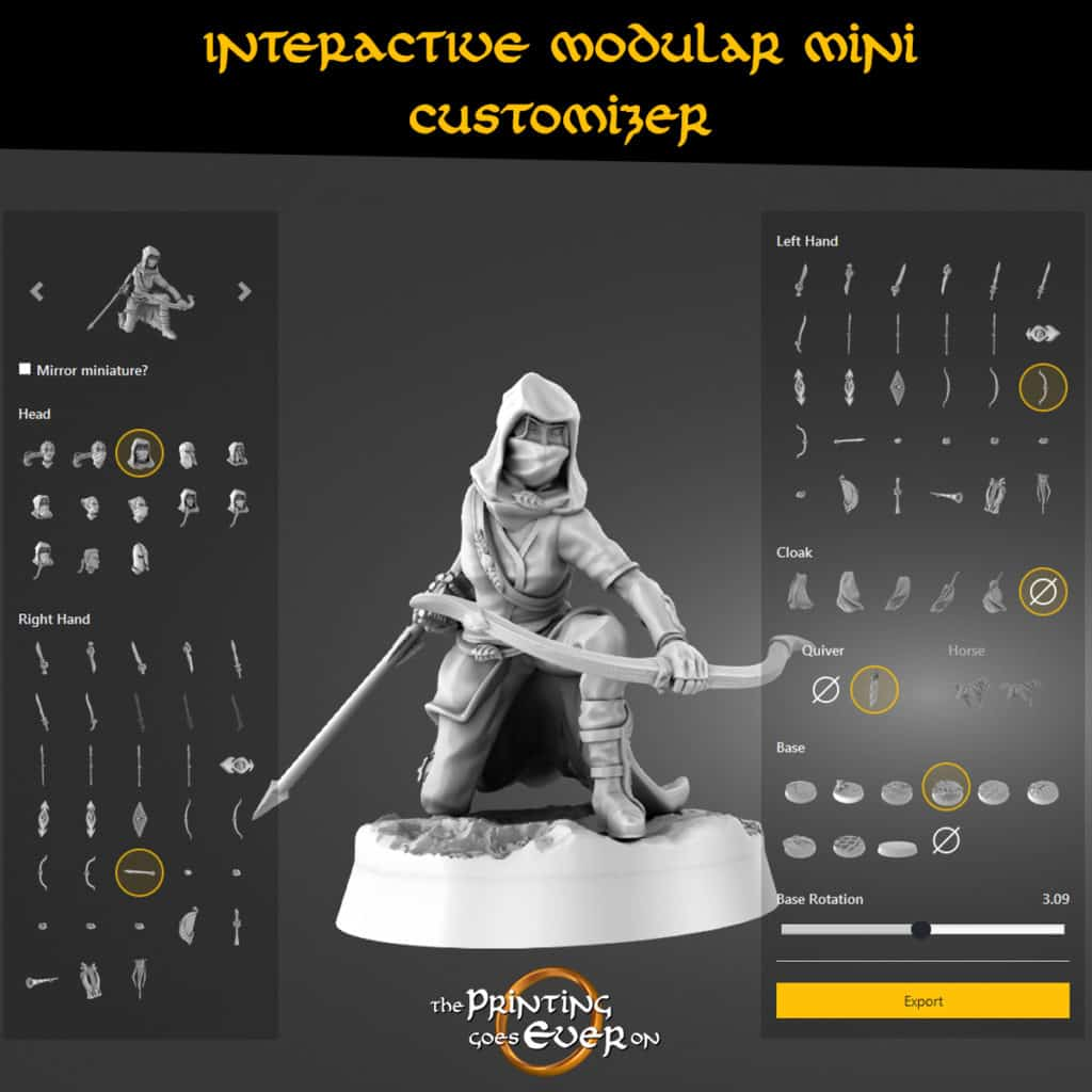 Pic of the 3d miniatures customizer with a gray archer kneeling in the middle as an example model from the printing goes ever on stl models collection. Different presupported bits on both sides.