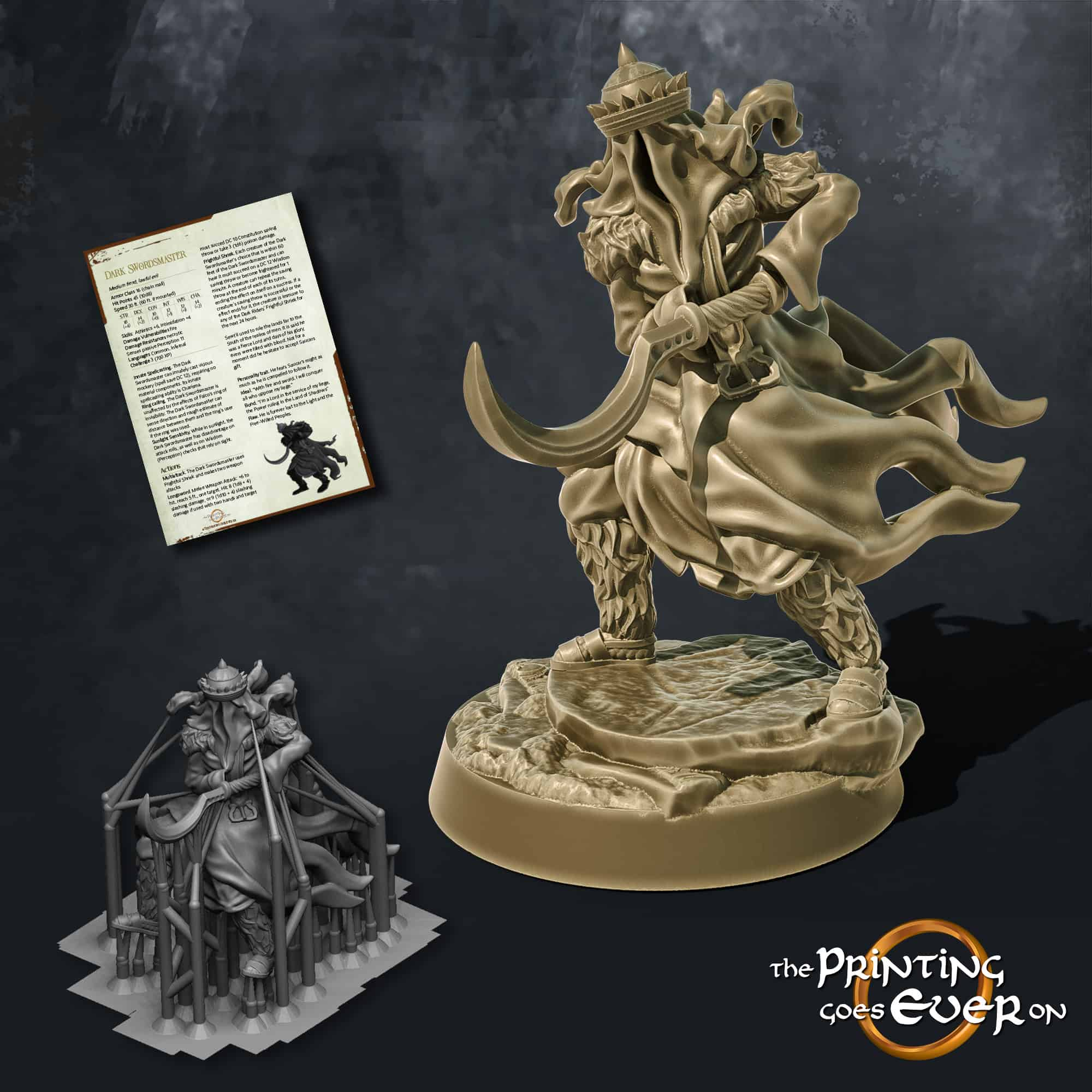 dark swordmaster with khopesh wraith the printing goes ever on october 2020 patreon pack miniature