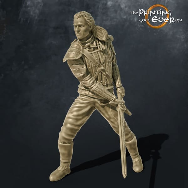 geralt of rivia 3d printable miniature from the printing goes ever on patreon free model