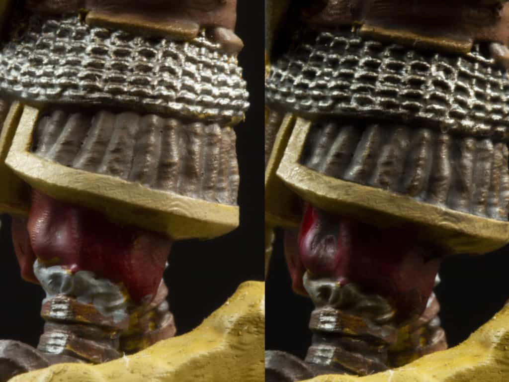 A fragment of 3d sculpture with (on the right) and without (on the left) a wash on it. After wash the chainmail looks less vague.