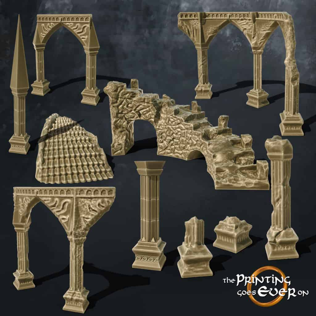 tower temple columns stairs scatter terrain ruins the printing goes ever on october 2020 patreon pack miniature terrain diorama