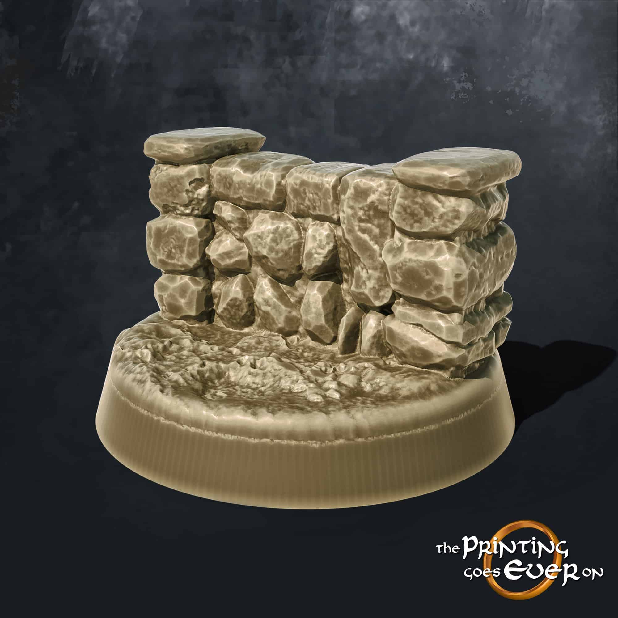 one inch round base with stone wall 3d printable tabletop miniatures