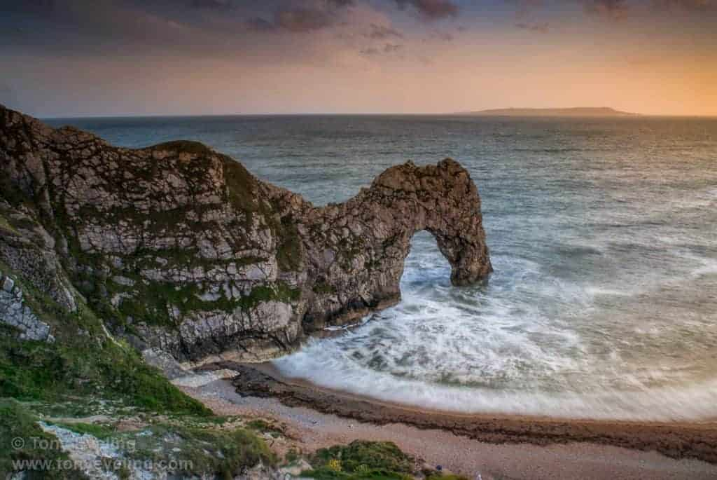 Durdle Door is a rock formation reaching out into the sea, Dorset, England, UK