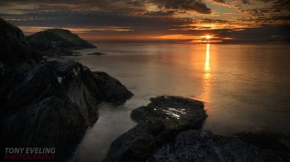 View of a sunset from the Devon coastline.