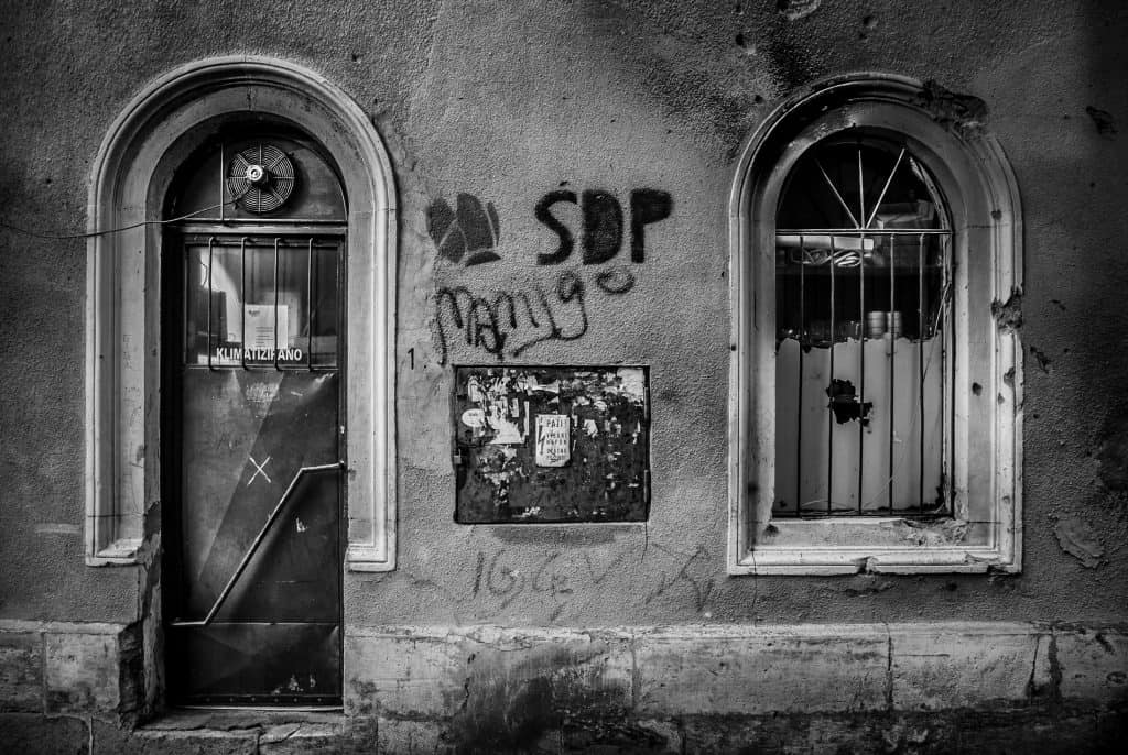 Black and white conversion of a wall in Mostar.