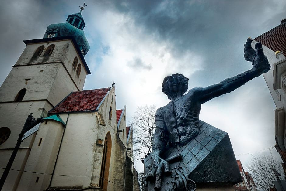 Sculpture and church in Hoxter Germany