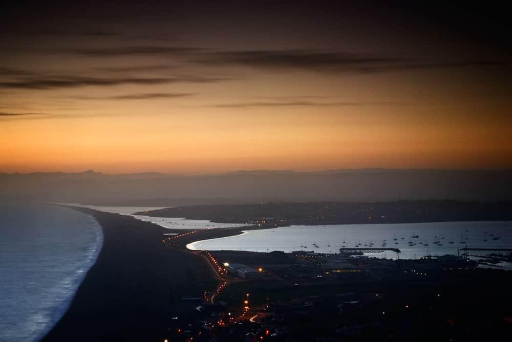 chesil beach at dusk, isle of portland near weymouth,dorset,england,uk