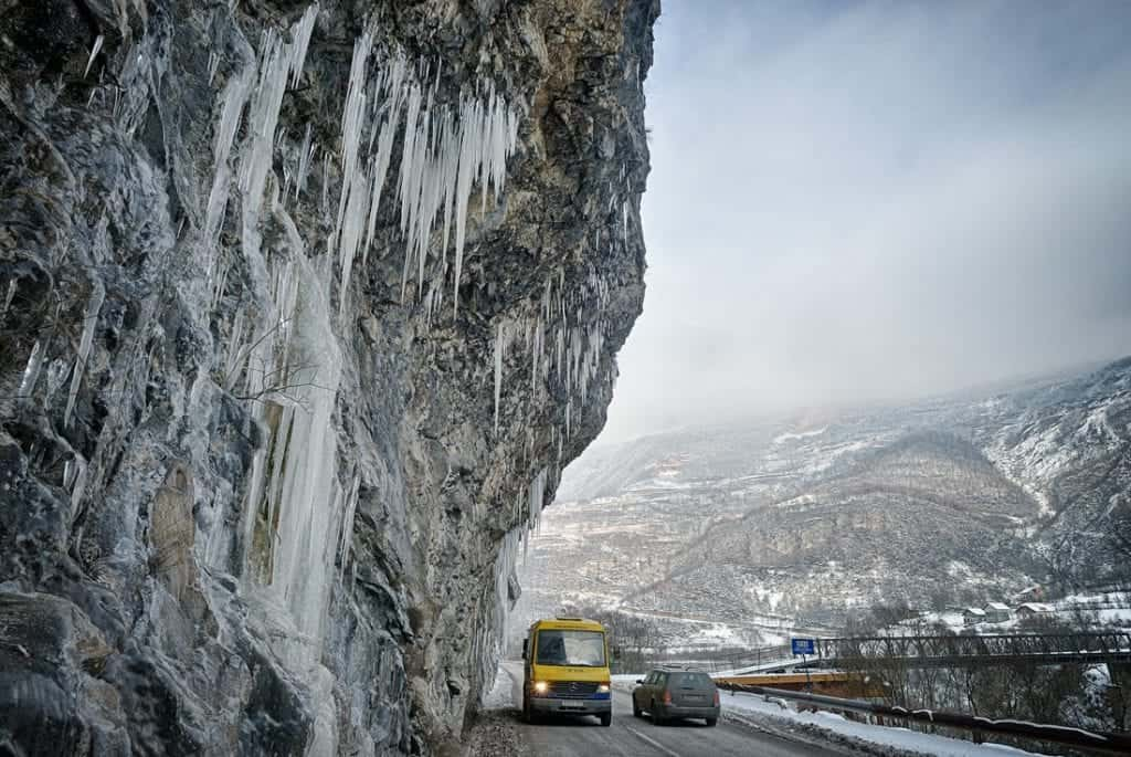 Icicles hanging from an overhanging rock, Bosnia and Herzegovina