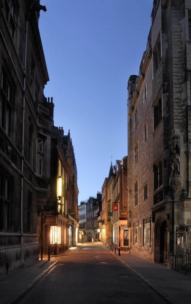 Urban view, taken at the Blue Hour, Kings Parade, Cambridge, cambridgeshire,england,uk