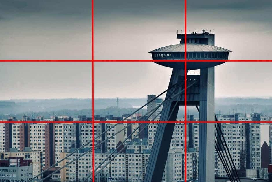 An example of the rule of thirds, with th erule of thirds grid applied