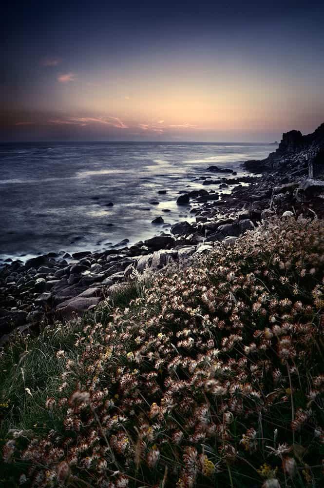 Dusk along the cornwall coastline, England, UK