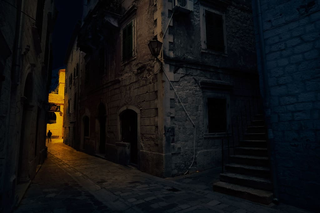 This photograph was originally taken in the day and I converted it in Photoshop to make it look like it was taken at night time. Kotor old town, Montenegro.