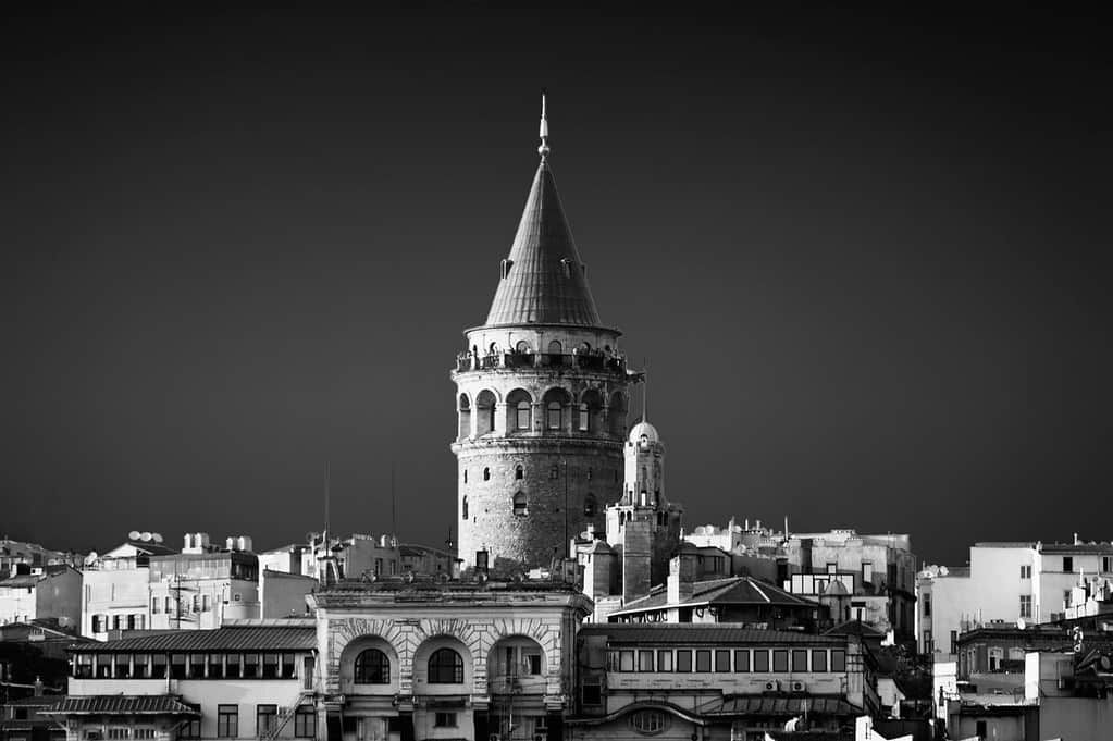 Black and white converted photograph. Galata Tower, Istanbul, Turkey.
