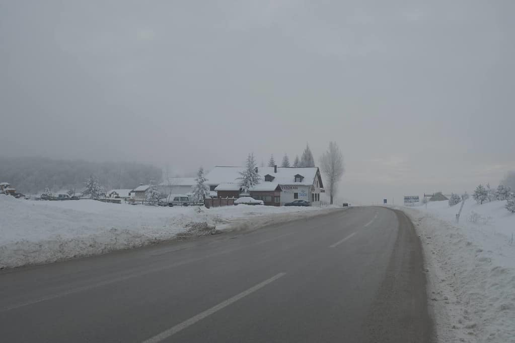 An example of a photograph before any post processing has been applied. Mountain pass, Bosnia in winter.