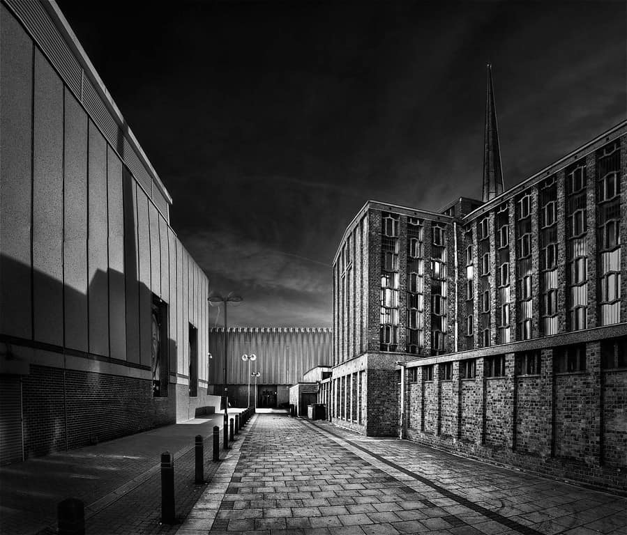 Black and white conversion. Architectural photograph taken in the town of Harlow in Essex, UK