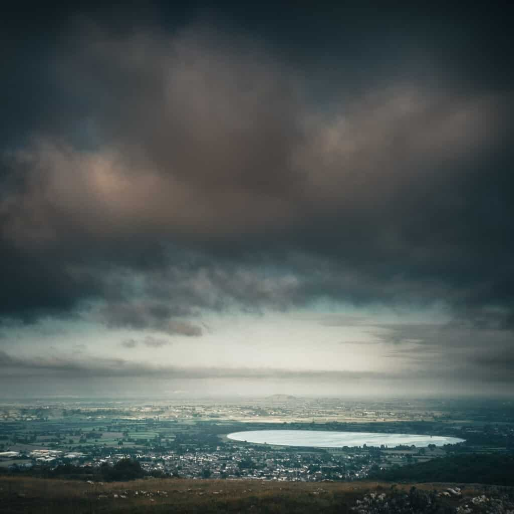 Moody Landscape photography. View across Cheddar, from Cheddar Gorge, Somerset, England, UK