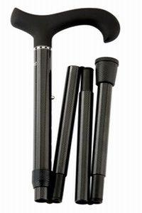 Carbon opvouwbare wandelstok Softgrip: Zeer lichte en super sterke wandelstok in een zwart/antraciete kleur voorzien van een greep met speciale coating.