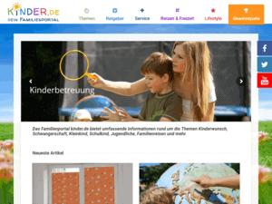 responsive Webdesign kinder.de Familienportal, Startseite