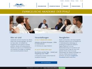 responsive Webdesign Evangelische Akademie der Pfalz, Startseite