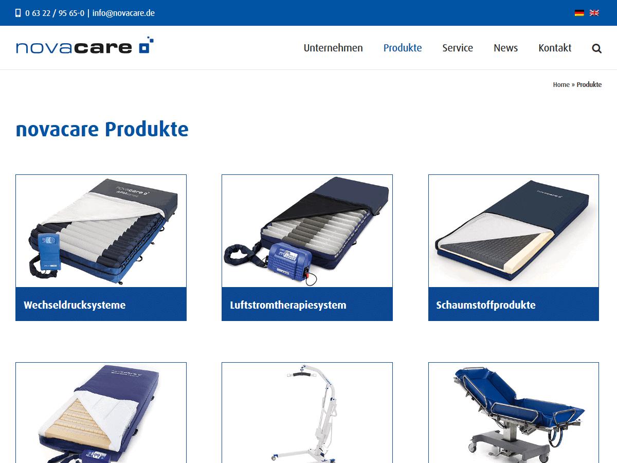 responsive Webdesign novacare GmbH, Produkte