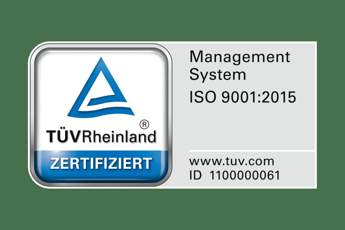 Das TÜV-Siegel ISO 9001:2015