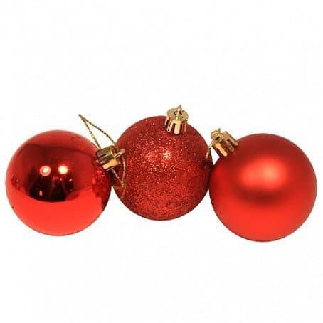 Набор елочных шаров 3 шт цвет красный