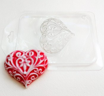 Сердце узорное, форма пластиковая